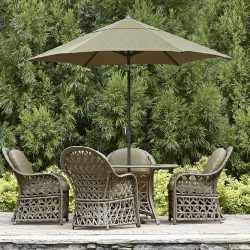 Olive residential umbrellas and patio cushions
