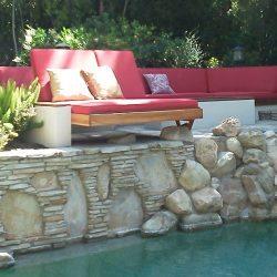 Custom red and white pad cushions for a pool area