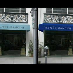 Blue 3D entrance awning rendering for Rene Mancini