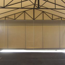 Drop-roll awning shade with tan awning fabric