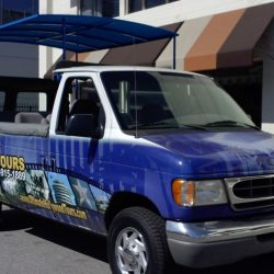 Extendable blue truck awning for Ultimate Hollywood Tours