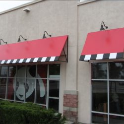 Red, white, and black commercial awnings for Panda Express