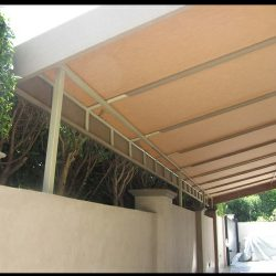 Metal carport awning for a home