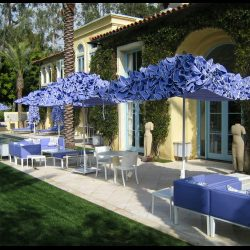 Custom lavender commercial umbrellas and patio set