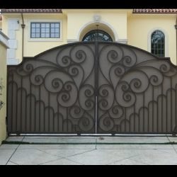 Brown custom fabric covers for an entrance gate