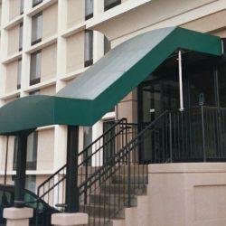 Green metal entrance awning