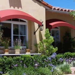 Red residential window awnings