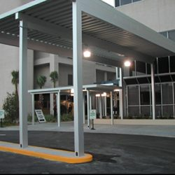 Large aluminum entrance awning for a drop-off area