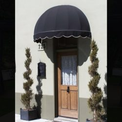 Dome awning with black and white awning fabric
