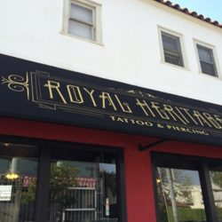 Black commercial awning for Royal Heritage