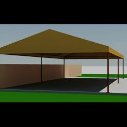 Carport awning rendering and 3D drawings