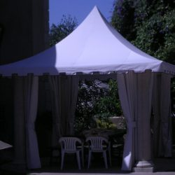 White awning fabric on a custom cabana