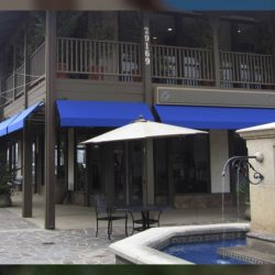 Blue commercial awning for a restaurant
