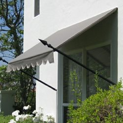 Grey awning fabric with spearhead awning