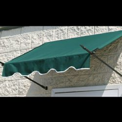 Entrance spearhead awning with green awning fabric
