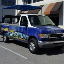 Custom blue truck awning for Ultimate Hollywood Tours
