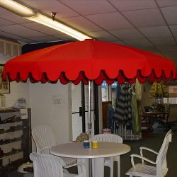 Custom red commercial shade umbrellas