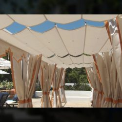 Commercial slide on wire awning and custom drapes