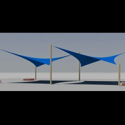 Sun shade 3D rendering and custom awnings