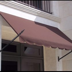 Custom spearhead awning with brown awning fabric
