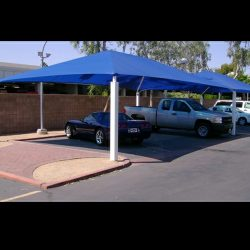 Carport awning with blue awning fabric