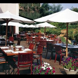 White commercial shade umbrellas for restaurants