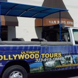 Ultimate Hollywood Tours custom blue truck awning