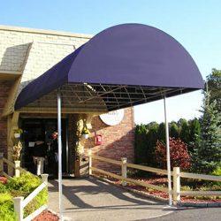 Purple metal entrance awning