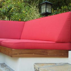 Red pad cushions for outdoor patio furniture