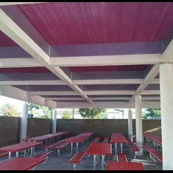 Large custom awning with red awning fabric