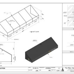 Custom metal awning design with black awning fabric