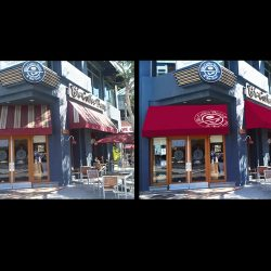 Red 3D entrance awning rendering