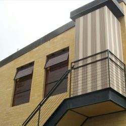 Custom awning with striped awning fabric