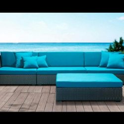Blue pad cushion design for custom patio furniture