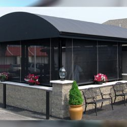 Custom black storefront awning