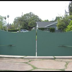 Green custom fabric covers for an entrance gate