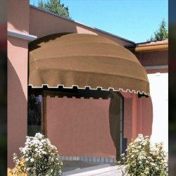 Custom residential awning with brown awning fabric