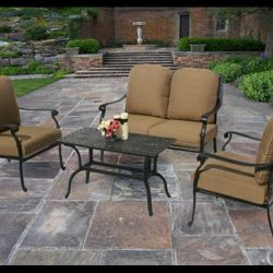 Custom patio furniture design with dark tan pad cushions