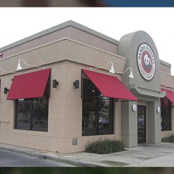Red commercial window awnings for Panda Express