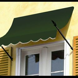 Spearhead awning design with green awning fabric