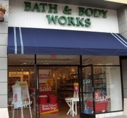 Blue custom storefront awning for Bath & Body Works