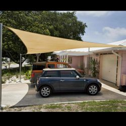 Carport awning with tan awning fabric