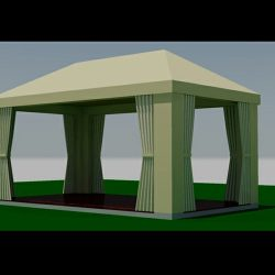 Beige custom awning rendering and 3D awning design