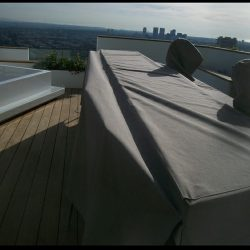 Custom fabric covers with dark tan awning fabric