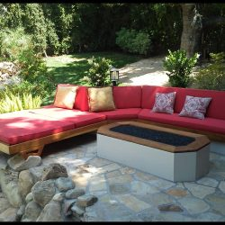 Custom patio cushions with red fabric
