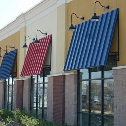 Blue and red aluminum window awnings