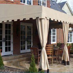 Patio shade awning with custom tan awning fabric