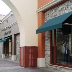 Teal commercial awnings for Coldwater Creek