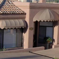 Brown residential window awnings