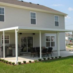 White residential aluminum awning for a backyard